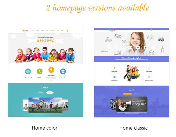 Kidzone's various home styles