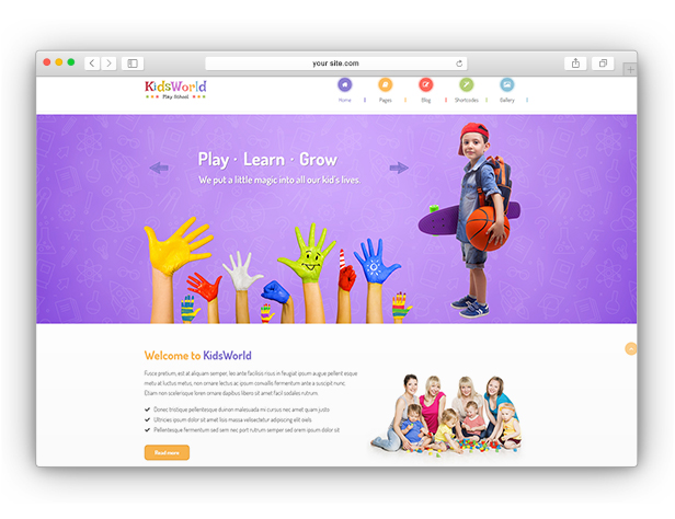 KidsWorld - Children Kindergarten WordPress Theme.
