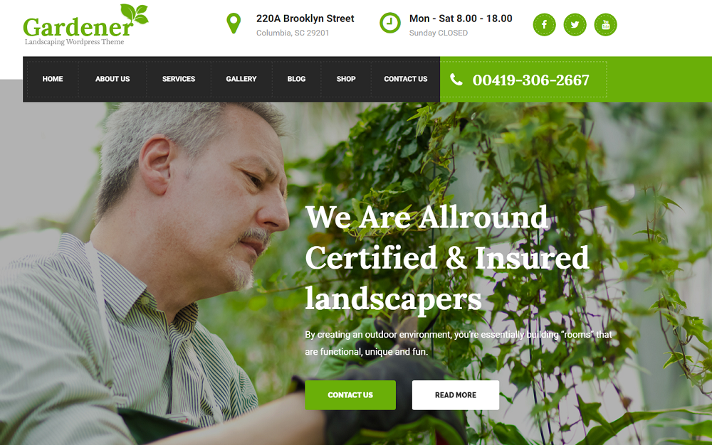 Gardener - Gardening WordPress Theme