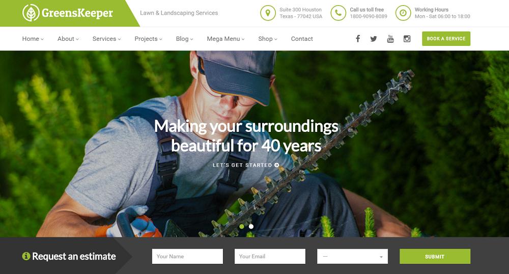 Greenkeeper - Landscaping WordPress theme