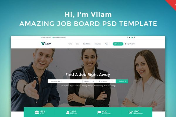 Job Board PSD Template